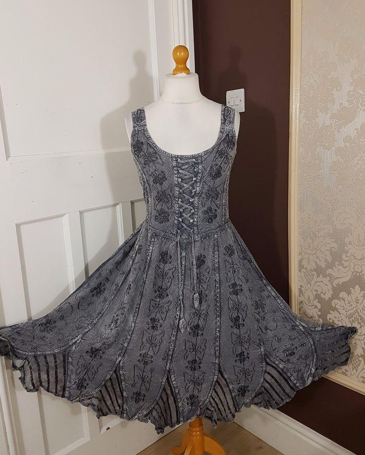 Midi Corset Boho Dress Pagan Lace up Bridesmaid Party 10 12 14 16 18 20 22