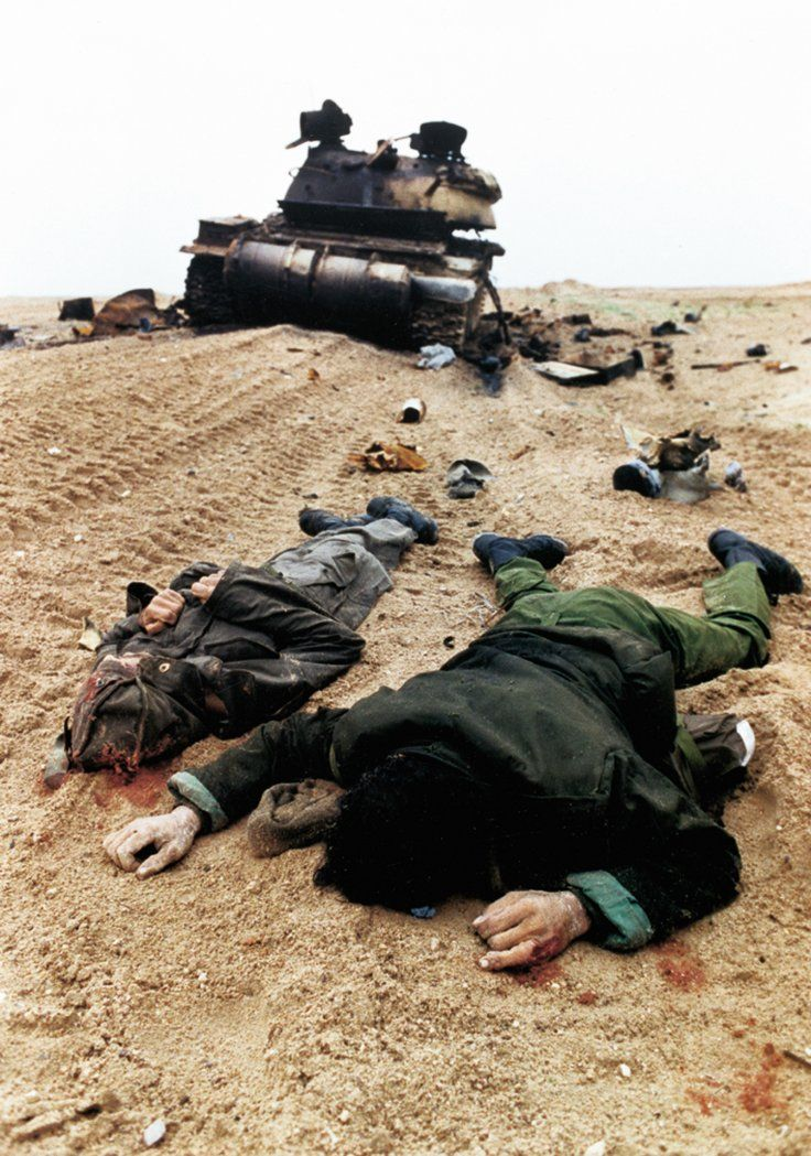 Gulf War iraq soldiers dead, 1991.  The Iraqi tanks were at the mercy of our Apache helicopters and A-10 Thunderbolts, as well as our M1A1 Abrams tanks