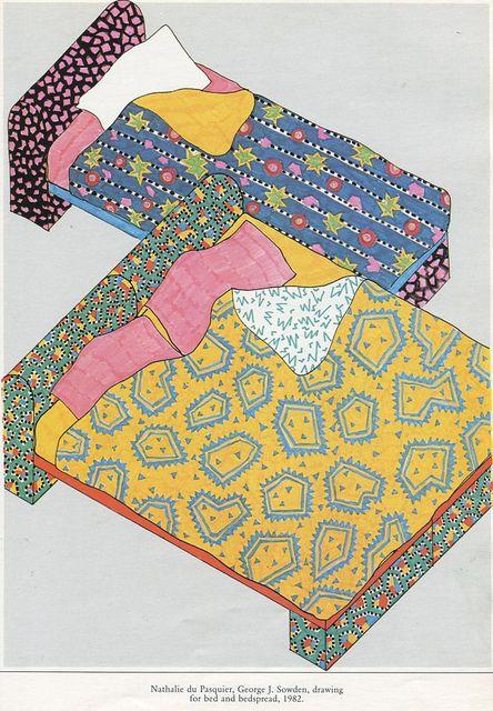 illustration frnçaise : Nathalie Du Pasquier, 1982, lit et linges, design Memphis, dessin, 1980s