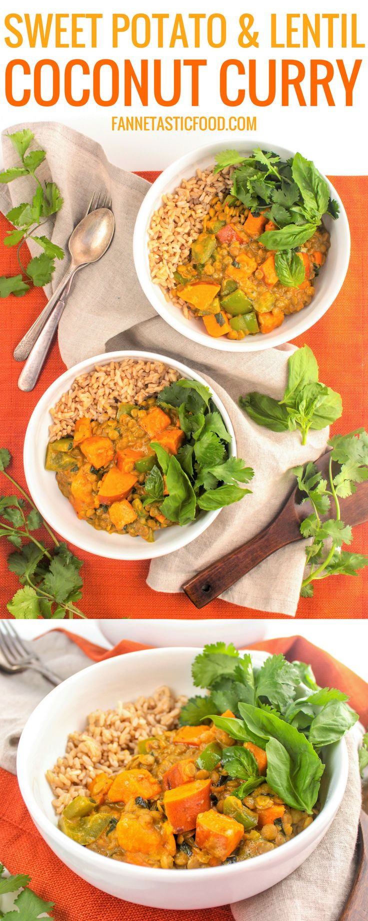 This Sweet Potato & Lentil Coconut Curry is quick and easy, packed with flavor, and vegan! Perfect for a balanced weeknight meal that's ready in no time. #curry #onepotmeal #dinner #healthyrecipes