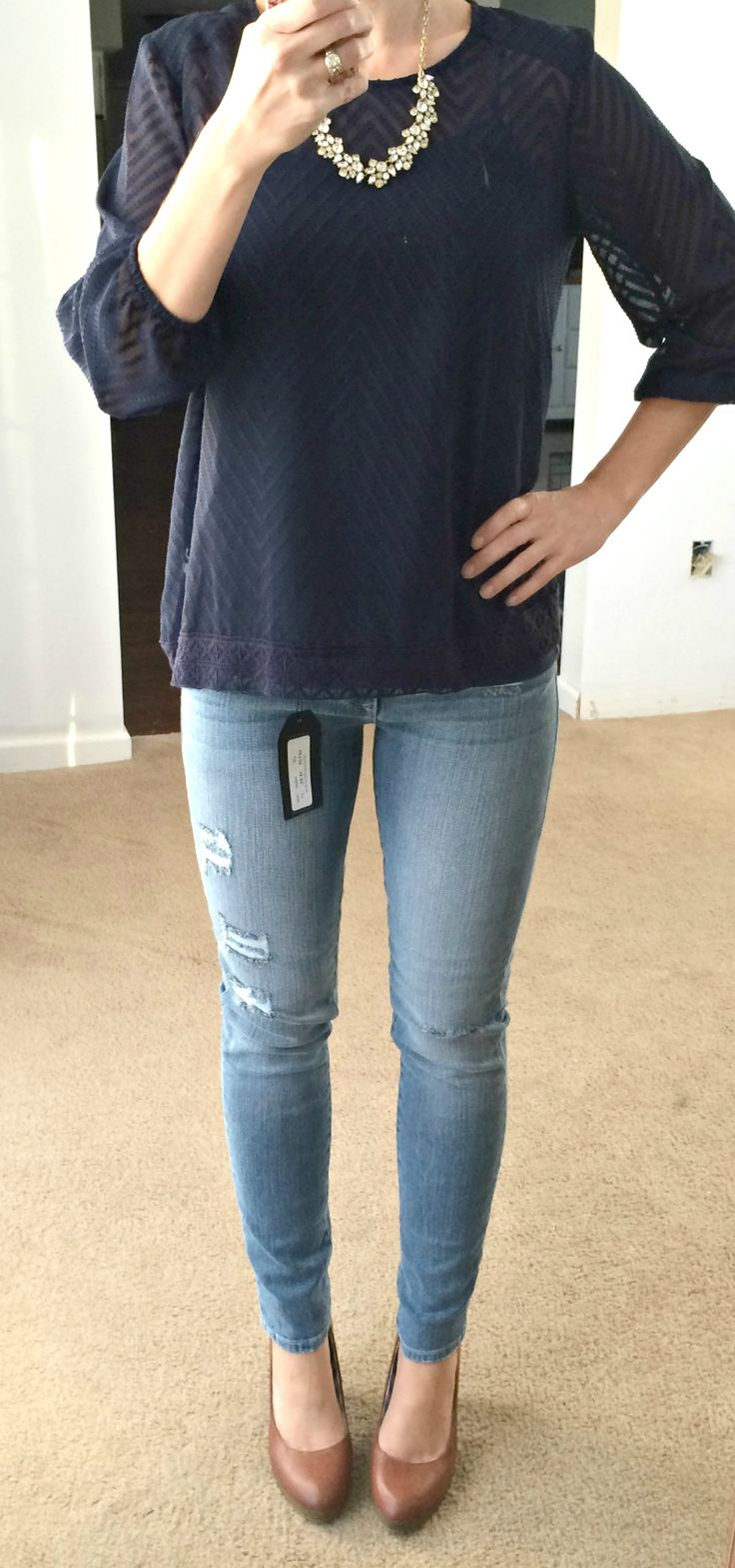"""MLS: Love the jeans in this photo...just the right amount of """"distressed"""" (Just Black Riley Distressed Skinny Jean)"""