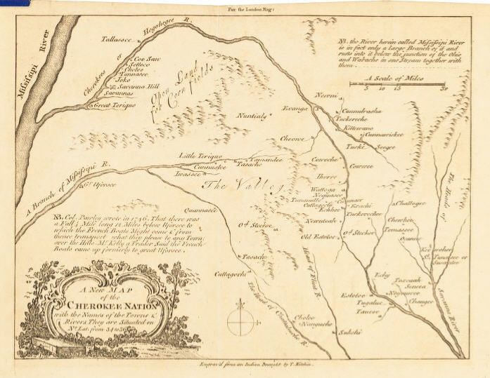 Map of the Cherokee Nation, 1760, NC State Archives. Click to view ...