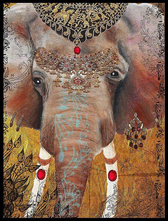 Indian Elephant of Jaipur Gilded elephant art by TarasArtHouse, $30.00