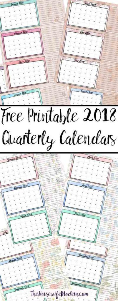 Free Printable 2018 Quarterly Calendars: 2 Designs! These free printable 2018 calendars are great for in planners, hanging, and more!