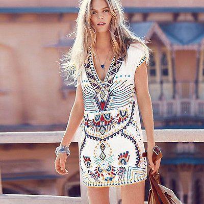 Boho señora aztecas tribal patrón verano playa vestido vestidos minivestido vestido Maxi