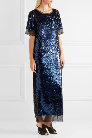 By Malene Birger - Lines Sequined Stretch-mesh Maxi Dress - Blue -