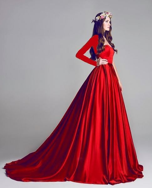 red satin long sleeve dress