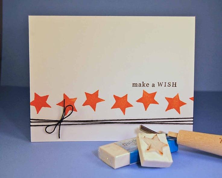 """Invitation med stjernetryk (æble, kartoffel eller viskelæder tryk). Kunne også være i neon farver pastel. Erstat """"make a wish"""" med Konfirmation fx i courier fond"""