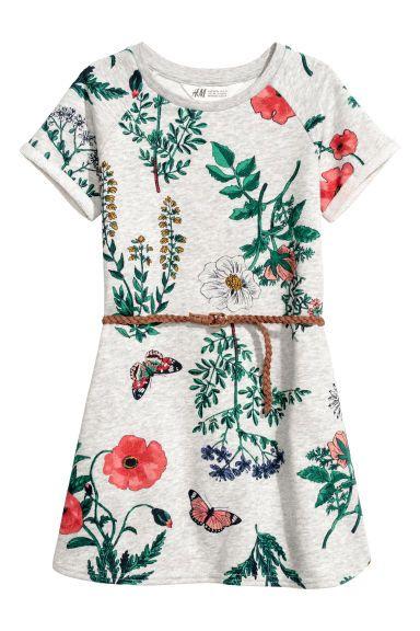 2002c573b6 Sukienka dresowa z paskiem - Szary melanż Kwiaty - Dziecko