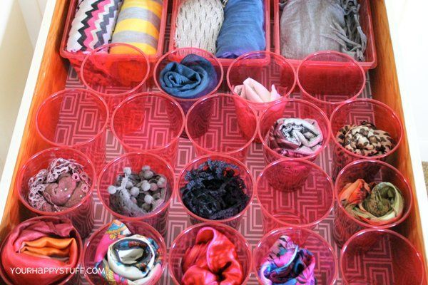10 Creative and Easy-To-Do Scarf Storage Ideas--I nearly spent $40 on a less practical scarf storage item from the Container Store.  Whew!  Saved by Google.