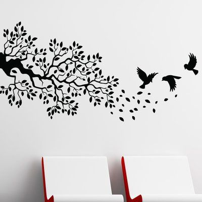 "Style and Apply Birds and Branch Wall Decal Color: Golden Yellow, Size: 12"" H x 24"" W"