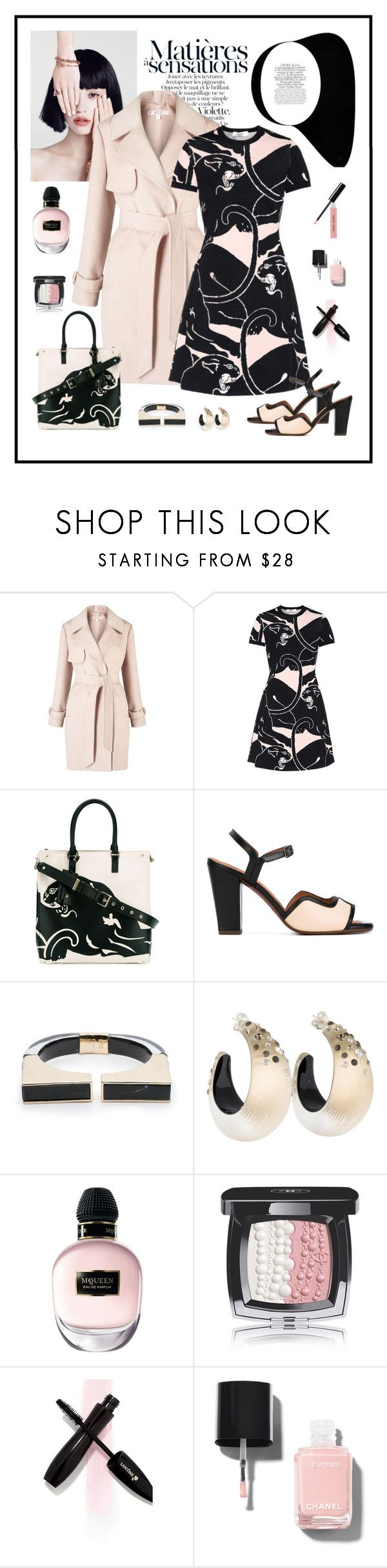 """""""Valentino Panther Print Dress & Bag Look"""" by romaboots-1 ❤ liked on Polyvore featuring Miss Selfridge, Valentino, Chie Mihara, Alexis Bittar, Alexander McQueen, Chanel and Bobbi Brown Cosmetics"""
