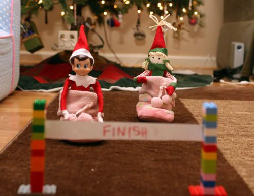 races: Elfcapades, Shelves, Christmas, Holidays, Slipper Race, Elf Antics, Elfontheshelf, Shelf Ideas, Elf On The Shelf