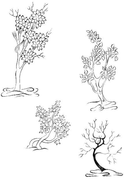 Cahide Keskiner - Minyatür Sanatında Doğa Çizim ve Boyama Teknikleri  Muhtelif ağacı çizimleri