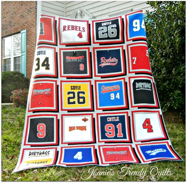 ~ Joanie's Trendy Quilts ~ Baseball t-shirt/jersey quilt with box shadowing!