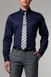 The definitive navy shirt indochino style files men for Blue dress shirt grey pants