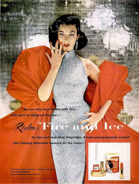 {Magnificently pretty vintage Revlon make-up ad featuring American model Dorian Leigh. Image via Van Michelle on Flickr.}