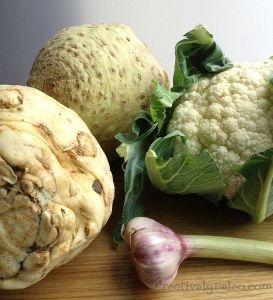 celeriac, cauliflower and beautiful fresh garlic for our paleo cottage pie recipe.