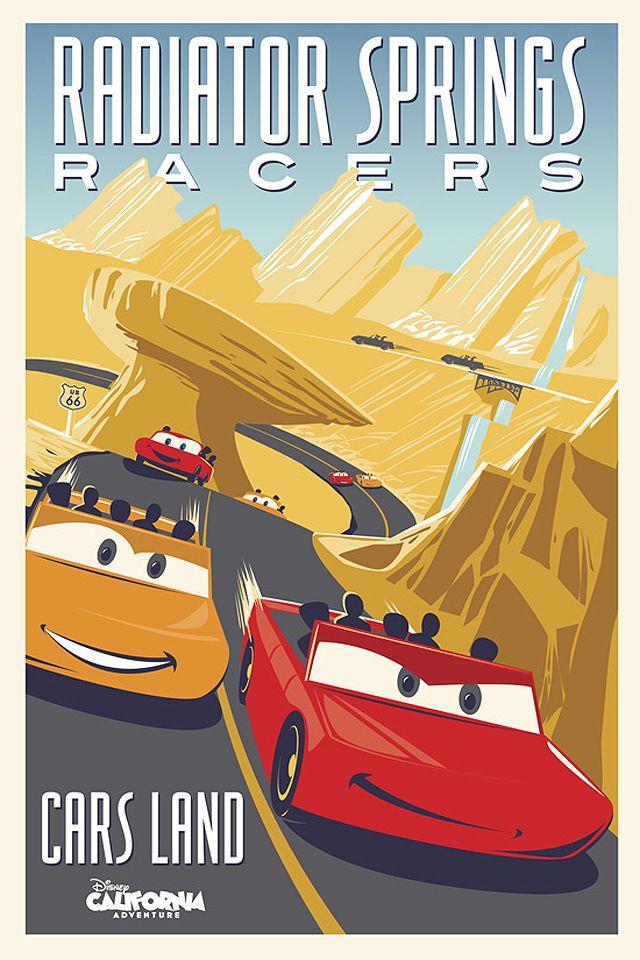 The Mega E-Ticket Radiator Springs Racers Poster for Cars Land!