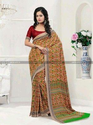 Beige N Maroon Pashmina Casual Printed Saree