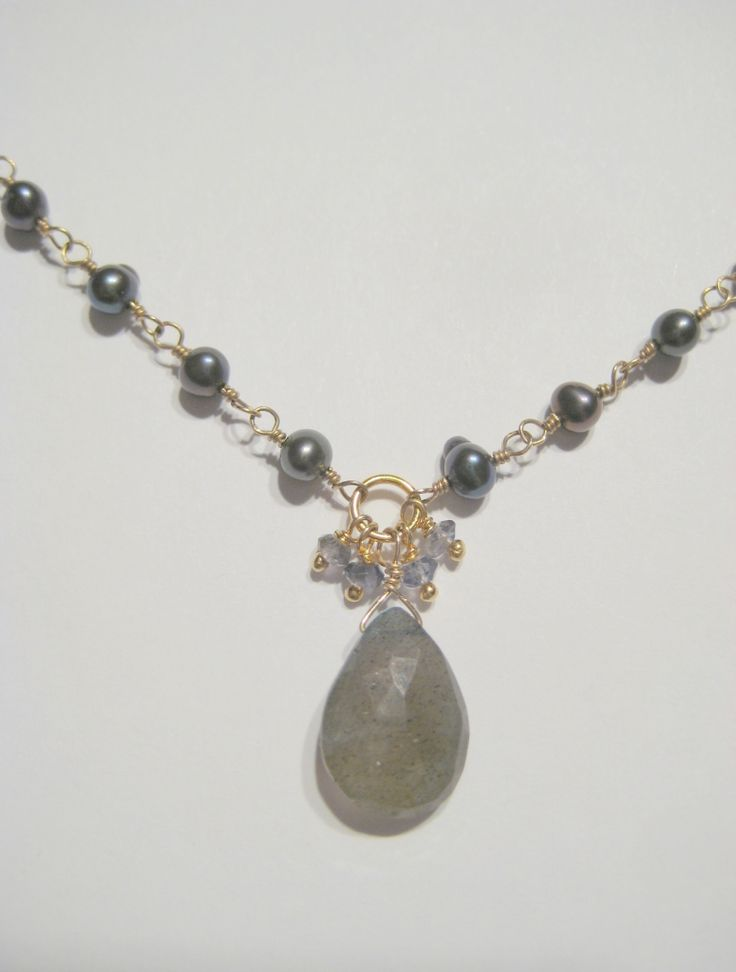 Wrapped silver pearls with labradorite
