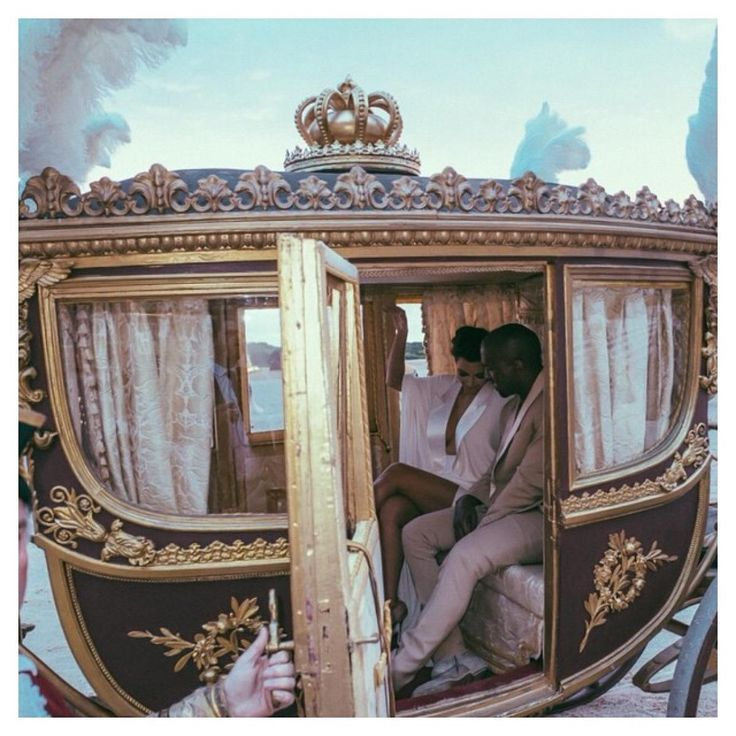 "Anything goes for Kimye's wedding! The brunette bombshell was on cloud 9 as she sat with her prince charming in a Cinderella-esque carriage after their rehearsal dinner at Versailles. ""Carriage ride at Versailles"" the reality star captioned her Instagram pic on May 23, 2014."