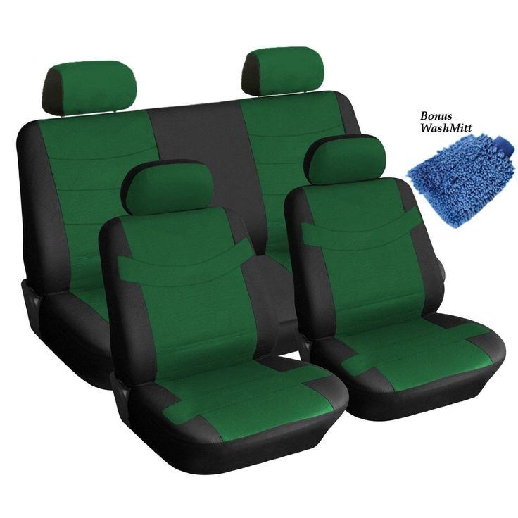 Unique Synthetic Faux Leather Black & Green Seat Covers 4 Headrests Steering (Color), Multi