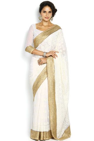 Soch White & Gold-Toned Embroidered Georgette Saree - SEVA SR 11005