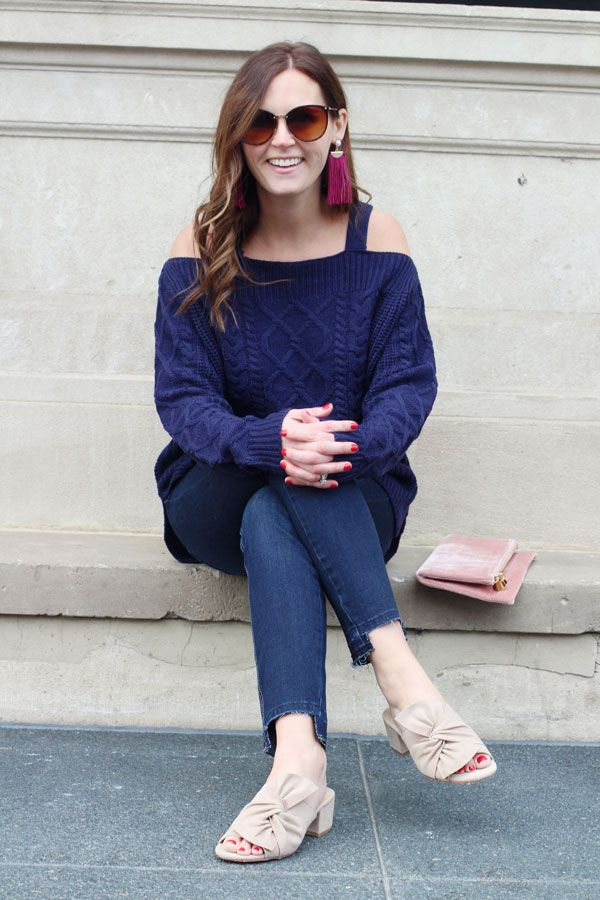 jillgg's good life (for less) | a west michigan style blog: my everyday style: holiday style with francesca's! #christmasoutfit #offtheshouldersweater #cozyoutfit #pink