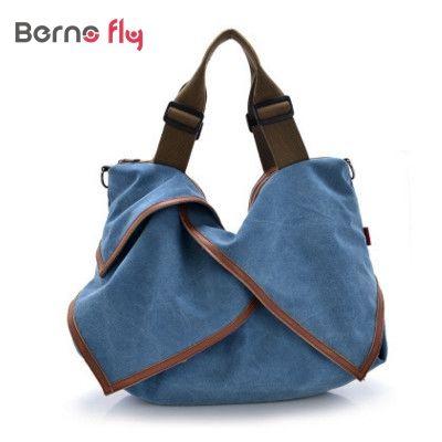 Casual canvas shopping bag woman patchwork hobo shoulder messenger bags extra large tote bag for ladies retro vintage handbag
