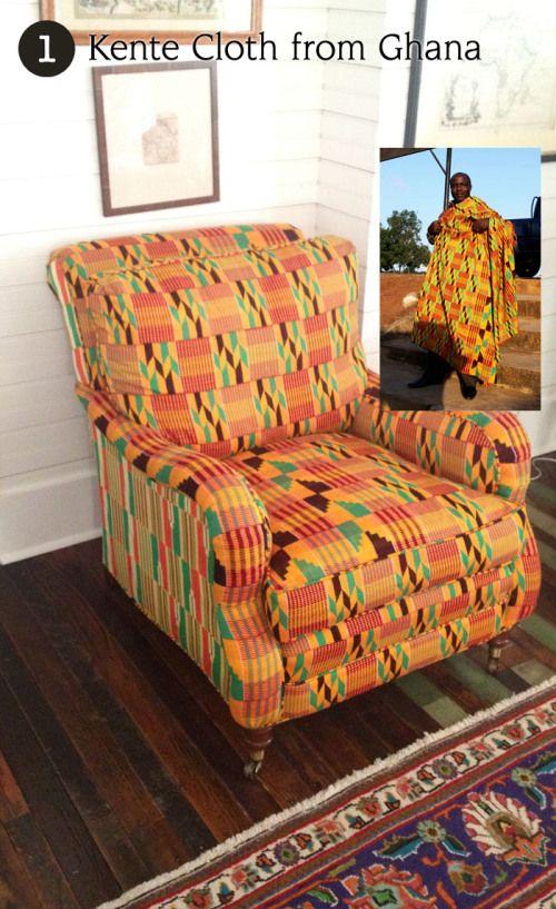 Kente cloth covered armchair