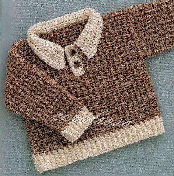 Crochet Patrón - patrón Pullover/Suéter/Jumper - tamaños de 6, 12 y 18 mos…