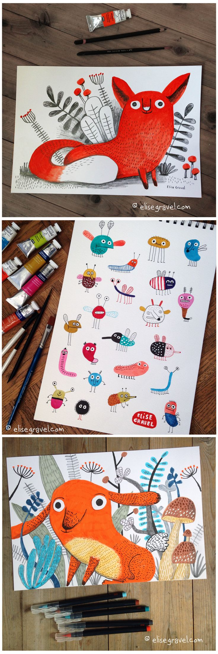Elise Gravel illustration • bugs • fox • bunny • nature • watercolor • orange • painting • art •