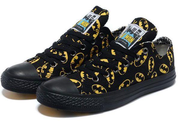 Running* Converse Batman noir et jaune Symbole Imprimé Low Tops toile