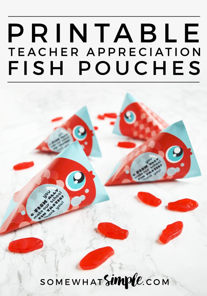 Easy Printable Teacher Appreciation Gift - We can't get over how ADORABLE these fish pouch teacher appreciation craft printables are! Such a 'sweet' way to tell teachers how much they're loved!