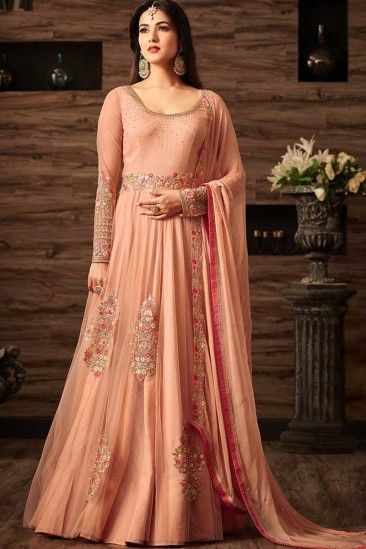02dd23e4f9 Peach Net Anarkali Churidar Suit With Dupatta - DMV15088 | Clothing ...