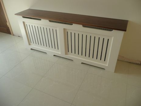Ivory Radiator Cover With Walnut Top