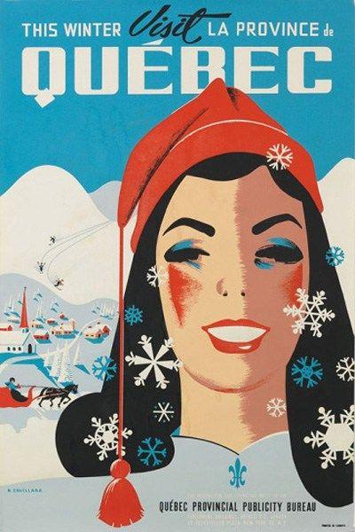 Vintage travel poster for Quebec. #Canada #vintage #travel #posters #winter
