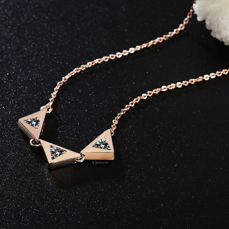 Rose Gold Necklace - Triangle Necklace - Chain Necklace - Geometric Necklace - Layering Necklace - Cubic Zirconia Necklace - CZ - AN0118 by AmodeJewelry on Etsy