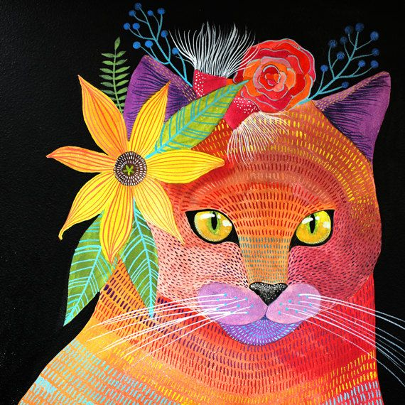 by Geninne colorful tropical cat