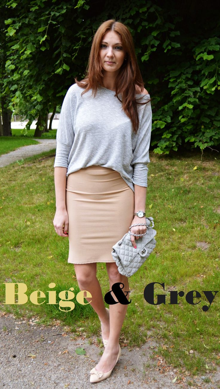 natalie's style: LOOK OF THE DAY: Beige & Grey