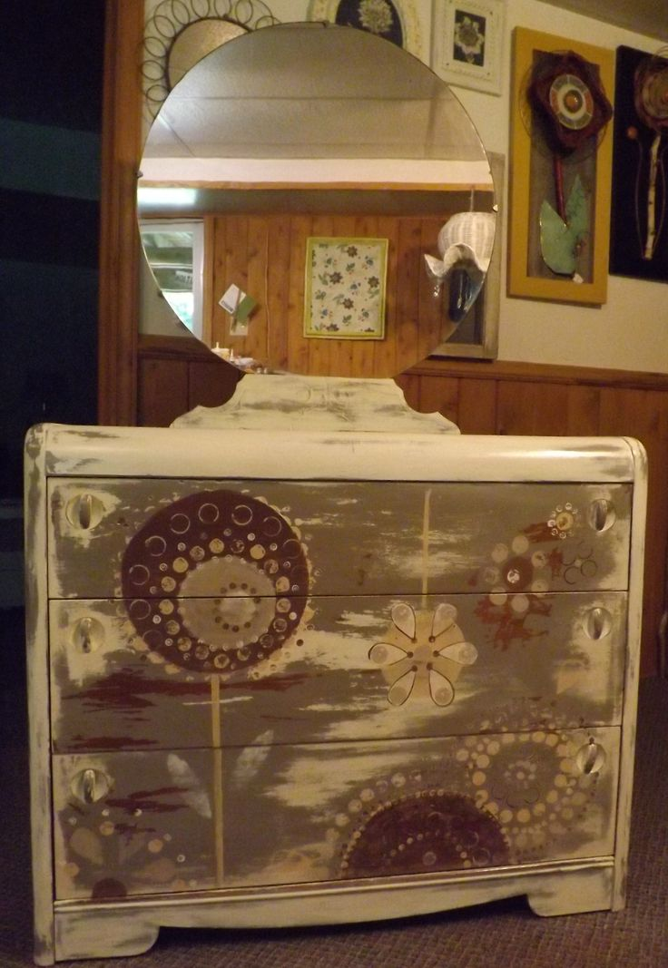 ~an antique dresser brought back to life by Tracy at Finds Refined ~ she has named it *Day Dream Garden*.    Lovely & unique ~ Solid Wood, Excellent Condition.  Available at Mariposa Design in Perth, Ontario ~ call Susan for measurements & pricing.   www.mariposadesign.ca