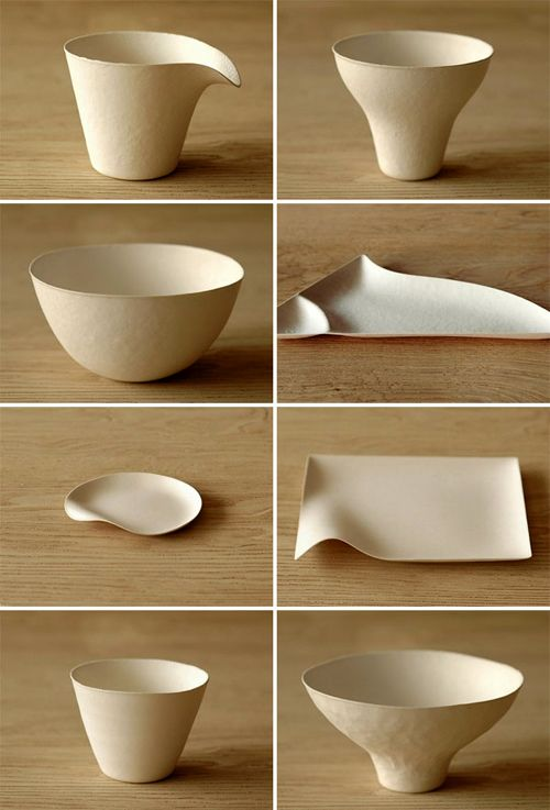 okay not really ceramics but like the shapes! - Wasara disposable tableware, made from 100% renewable tree-free materials