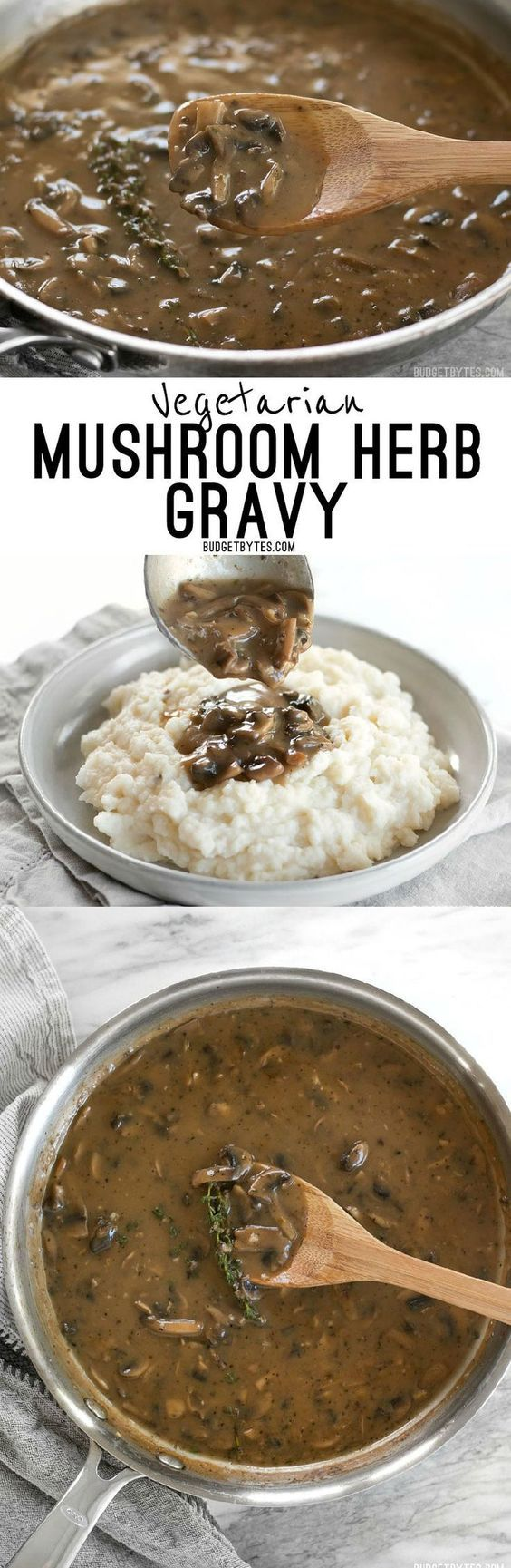 This one quick, easy, and insanely flavorful Mushroom Herb Gravy will satisfy both meat eaters and vegetarians alike. * Visit the image link for more details. #baking