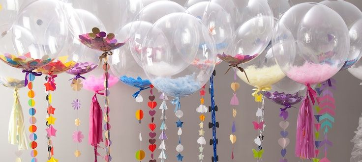 unique wedding, gift and event balloons with handmade tassel tails and filled with confetti