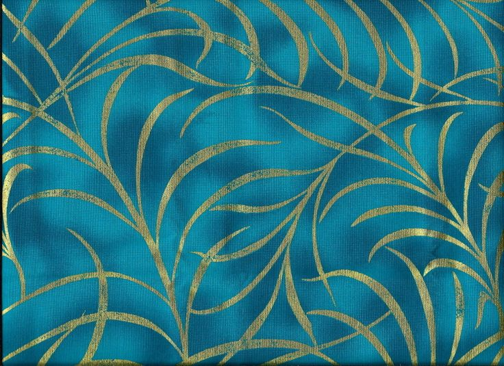 #030 GOLDEN PLUMES ON TEAL QUILT FABRIC, OUT OF PRINT,HARD TO FIND,GORGEOUS LOOK
