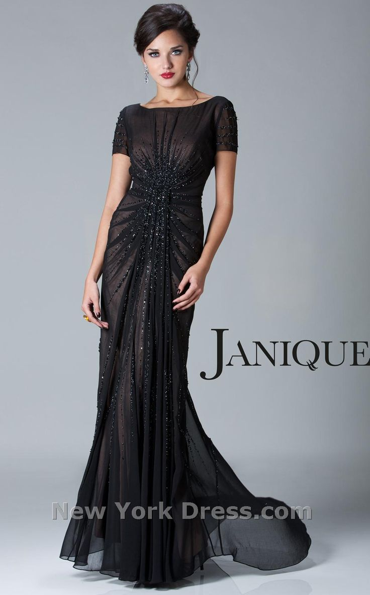 New York Dress: Beaded cap sleeve by Janique. Modest dresses that are stunning for formal event! One day!