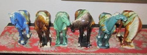 Antique-6-Chinese-Tang-Dynasty-War-Horses-Majolica-Sancai-Glaze-Horse-Stallion