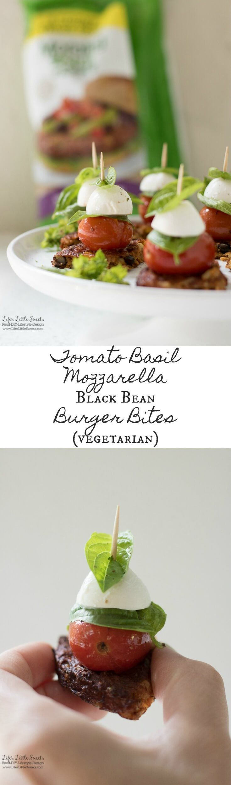 Tomato Basil Mozzarella Black Bean Burger Bites are a savory & delicious recipe perfect for the tailgating season. They are so easy to make with MorningStar Farms®️ Spicy Black Bean Burgers! (vegetarian) #TailgateWithATwist #SeasonalSolutions #CollectiveB
