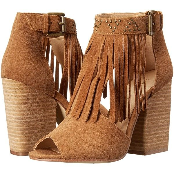 Chinese Laundry Boho Fringe Bootie (Camel) High Heels ($40) ❤ liked on Polyvore featuring shoes, boots, ankle booties, heels, boho, tan, high heel boots, block heel booties, high heel bootie and fringe boots